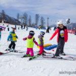 Роза Хутор. Обучение детей основам катания на лыжах.