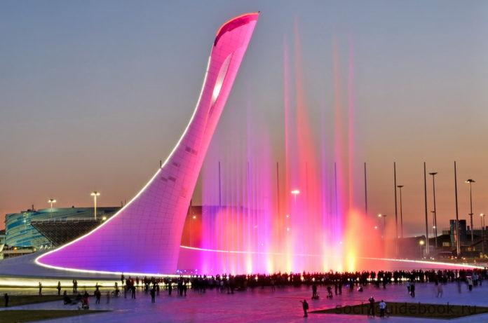 Поющие фонтаны. Олимпийский парк. Вечернее шоу.